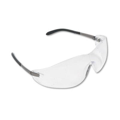 Blackjack wraparound safety glasses, chrome plastic frame, clear lens, sold as 1 box, 12 each per box