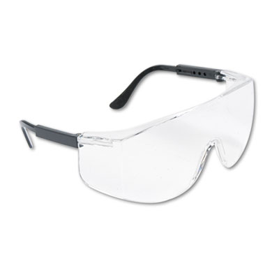 Tacoma wraparound safety glasses, black plastic frame, clear lens, sold as 1 each