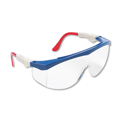 Tomahawk wraparound safety glasses, red/white/blue nylon frame, clear lens, sold as 1 each
