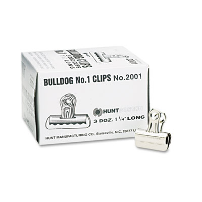"Bulldog clips, steel, 7/16"" capacity, 1-1/4""w, nickel-plated, 36/box, sold as 1 box, 36 each per box"