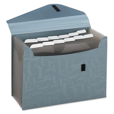 Expanding poly files, 13 pockets, poly, 1/6 tab, letter, blue, sold as 1 each