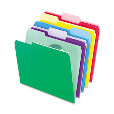 File folders with infopocket, 1/3 cut top tab, letter, assorted, 30/pack, sold as 1 package