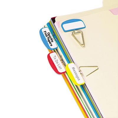 Pilesmart label clip file organizers, blue/red/yellow, 12/pack, sold as 1 package