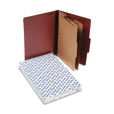 Six-section pressboard folders, legal, red, 10/box, sold as 1 box, 10 each per box