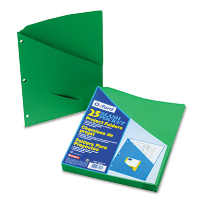 Essentials slash pocket project folders, 3 holes, letter, green, 25/pack, sold as 1 package
