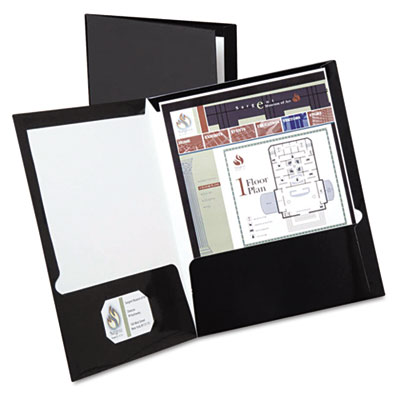 High gloss laminated paperboard folder, 100-sheet capacity, black, 25/box, sold as 1 box, 25 each per box