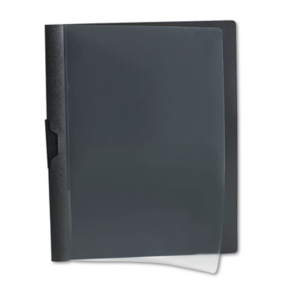 Polypropylene no-punch report cover, letter, holds 30 pages, clear/black, sold as 1 each