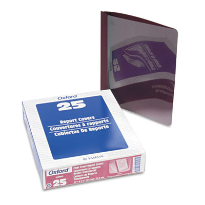 Linen finish clear front report cover, 3 fasteners, letter, burgundy, 25/box, sold as 1 box, 25 each per box
