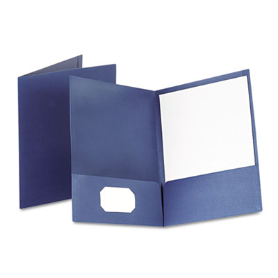 Linen finish twin pocket folders, letter, navy, 25/box, sold as 1 box, 25 each per box