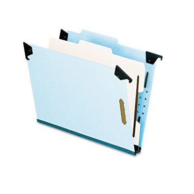 Pressboard hanging classi-folder, 1 divider/4-sections, letter, blue, sold as 1 each