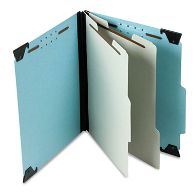Pressboard hanging classi-folder, 2 divider/6-sections, letter, blue, sold as 1 each