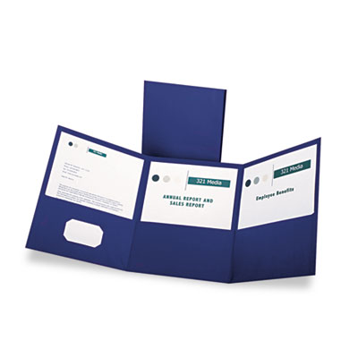 Tri-fold folder w/3 pockets, holds 150 letter-size sheets, blue, sold as 1 box, 20 each per box