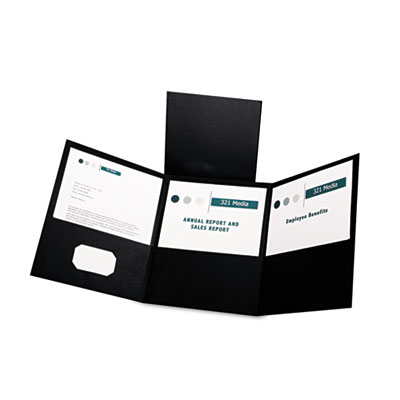 Tri-fold folder w/3 pockets, holds 150 letter-size sheets, black, sold as 1 box, 20 each per box