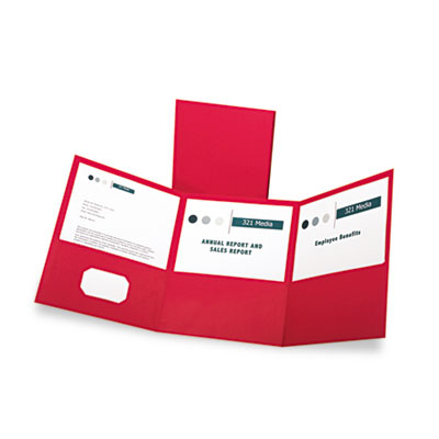 Tri-fold folder w/3 pockets, holds 150 letter-size sheets, red, sold as 1 box, 20 each per box