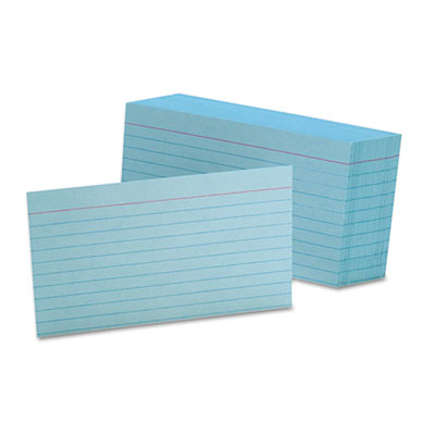 Ruled index cards, 3 x 5, blue, 100/pack, sold as 1 package