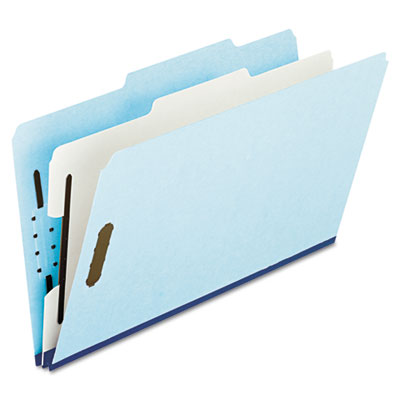 Four- and six-section classification folders, 2/5 tab, legal, blue, 10/box, sold as 1 box, 10 each per box