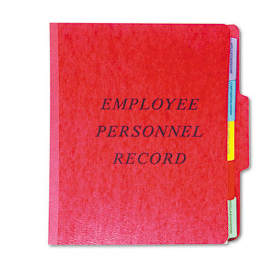 Personnel folders, 1/3 cut top tab, letter, red, sold as 1 each