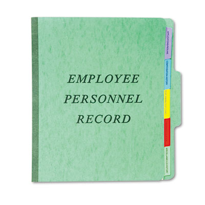 Personnel folders, 1/3 cut top tab, letter, green, sold as 1 each