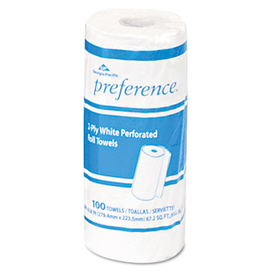 Perforated paper towel roll, 11 x 8 7/8, white, 100 sheets/roll, sold as 1 roll