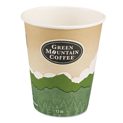 Eco-friendly paper hot cups, 12oz, green mountain design, multi, 1000/carton, sold as 1 carton, 1000 each per carton