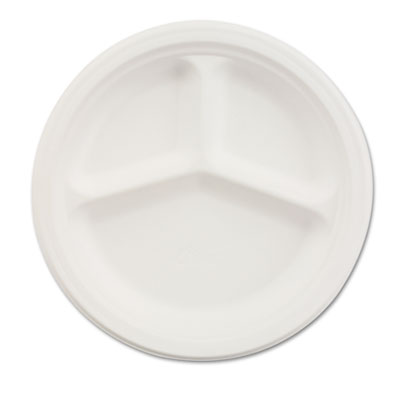 "Paper dinnerware, 3-comp plate, 9 1/4"" dia, white, 500/carton, sold as 1 carton, 500 each per carton"