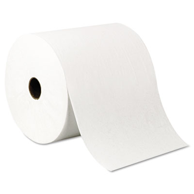 """Hard roll towels, 8"""" x 1000ft, recycled, white, 6 rolls/carton, sold as 1 carton, 6 roll per carton"""