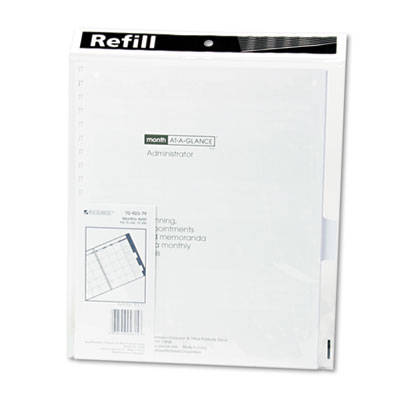 Three/five-year monthly planner refill, 9 x 11, white, 2019, sold as 1 each