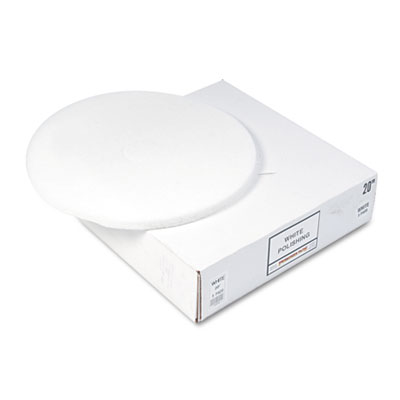 "Standard floor pads, 20"" dia, white, 5/carton, sold as 1 carton, 5 each per carton"
