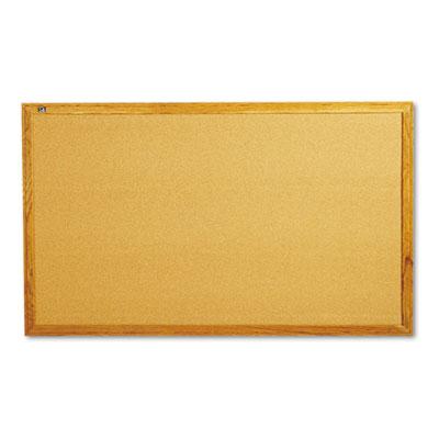 Classic cork bulletin board, 60 x 34, oak finish frame, sold as 1 each