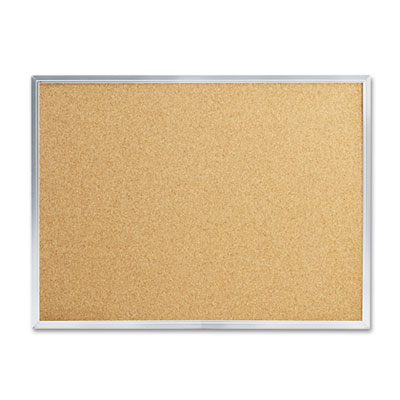 Cork bulletin board, 24 x 18, silver aluminum frame, sold as 1 each