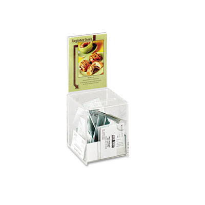 Small acrylic collection box, 5 1/2 x 5 1/2 x 13, clear, sold as 1 each