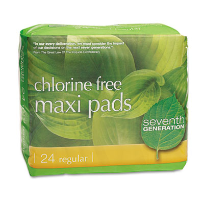 Chlorine free maxi pads, 24/pack, 12 packs/carton, sold as 1 carton, 288 each per carton