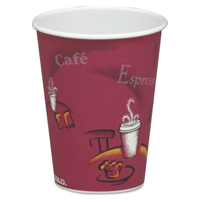 Bistro design hot drink cups, paper, 8oz, maroon, 50/bag, 20 bags/carton, sold as 1 carton, 1000 each per carton