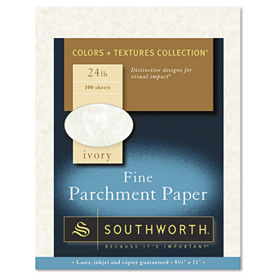 Parchment specialty paper, ivory, 24 lb., 8 1/2 x 11, 100/box, sold as 1 package
