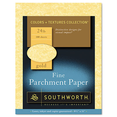 Parchment specialty paper, gold, 24 lb., 8 1/2 x 11, 100/box, sold as 1 package
