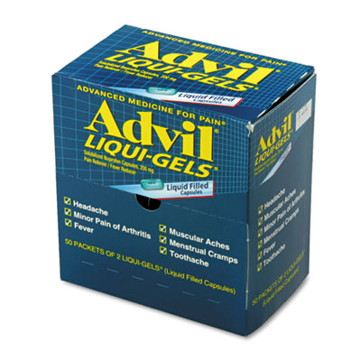 Liqui-gels, two-pack, 50 packs/box, sold as 1 box, 50 package per box