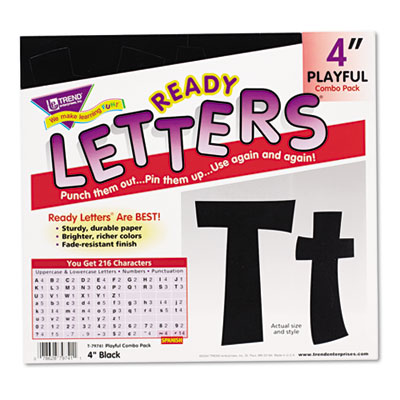 "Ready letters playful combo set, black, 4""h, 216/set, sold as 1 set"