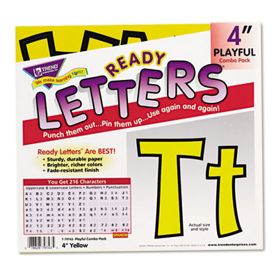 "Ready letters playful combo set, yellow, 4""h, 216/set, sold as 1 set"