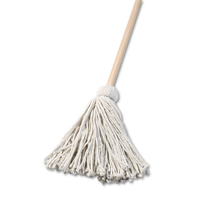 "Deck mop, 48"" wooden handle, 16oz cotton fiber head, sold as 1 carton, 6 each per carton"