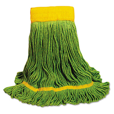 Ecomop looped-end mop head, recycled fibers, medium size, green, sold as 1 each