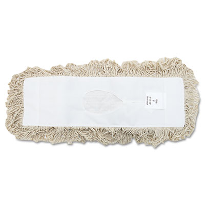 Industrial dust mop head, hygrade cotton, 18w x 5d, white, sold as 1 each