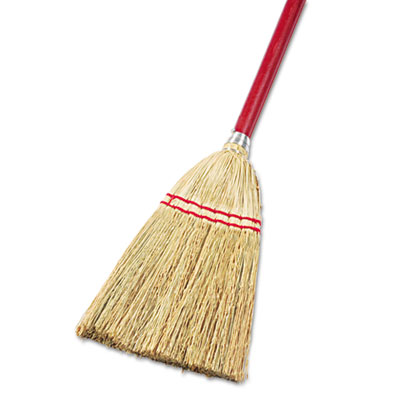 "Lobby/toy broom, corn fiber bristles, 39"" wood handle, red/yellow, sold as 1 each"