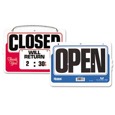 Double-sided open/closed sign w/dial-a-time will return clock, plastic, 11 x 8, sold as 1 each