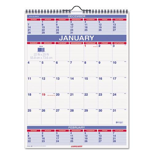 Three-month wall calendar, 22 x 29, 2016, sold as 1 each