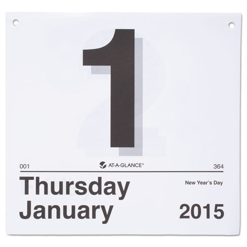 """Today is"""" daily wall calendar refill, 8 1/2 x 8, white, 2016, sold as 1 each"""