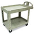 Heavy-Duty Utility Cart, Two-Shelf, 25 1/4w x 44d x 39h, Beige