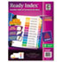 Ready Index Contemporary Table of Contents Divider, Jan-Dec, Multi, Letter