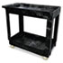 Service/Utility Cart, Two-Shelf, 17w x 38d x 31h, Black