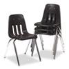 Virco® 9000 Series Classroom Chair, Black/Chrome Frame, 4/Carton VIR901801