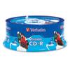 Verbatim® CD-R, 700MB, 52X, White Inkjet Printable, Hub Printable, 25/PK Branded Spindle VER96189